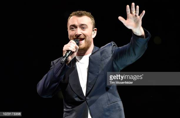 Sam Smith performs during his The Thrill of It All Tour at Golden 1 Center on August 24 2018 in Sacramento California