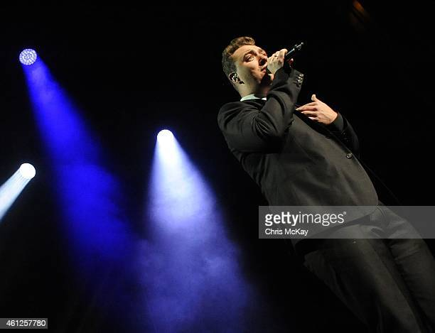 Sam Smith performs during the first night of his 2015 tour at Fox Theater on January 9 2015 in Atlanta Georgia