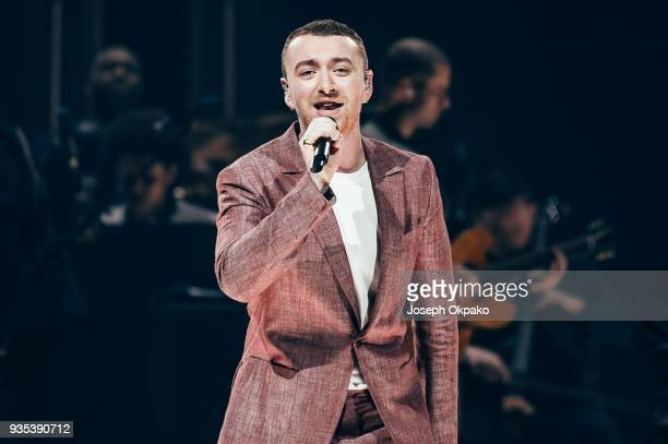 Sam Smith performs live on stage at Sheffield Arena on March 20 2018 in Sheffield England
