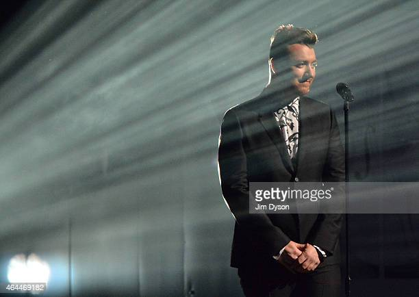 Sam Smith performs live on stage at the BRIT Awards 2015 at The O2 Arena on February 25 2015 in London England