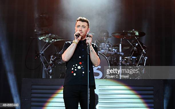 Sam Smith performs on Day 1 of the V Festival at Hylands Park on August 22 2015 in Chelmsford England