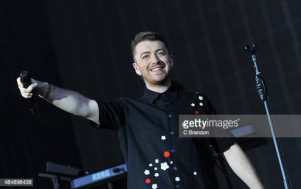 Sam Smith performs on stage during Day 1 of the V Festival at Hylands Park on August 22 2015 in Chelmsford England