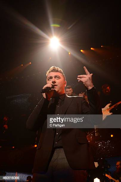 Sam Smith performs onstage at the Q102's Jingle Ball 2014 at Wells Fargo Center on December 10 2014 in Philadelphia Pennsylvania