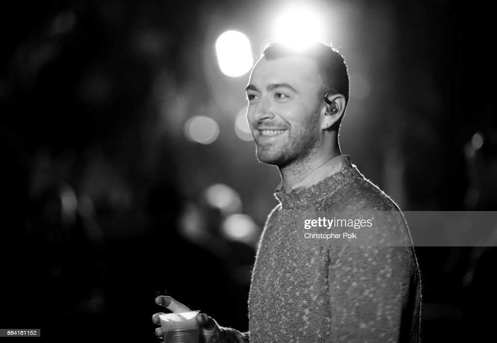 Image has been converted to black and white.) Sam Smith performs onstage during 102.7 KIIS FM's Jingle Ball 2017 presented by Capital One at The Forum on December 1, 2017 in Inglewood, California.