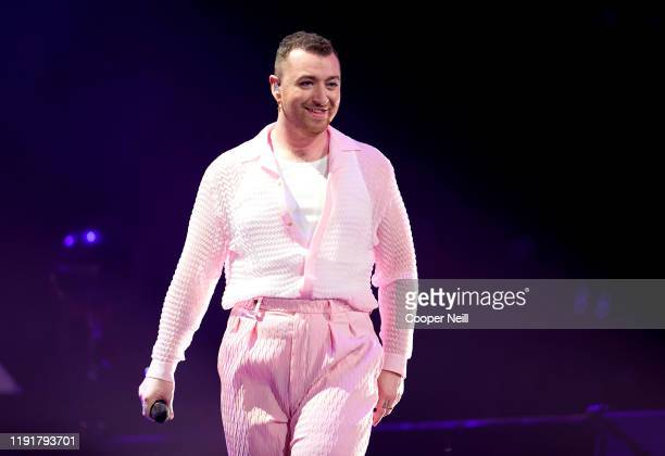 Sam Smith performs onstage during 106.1 KISS FM's Jingle Ball 2019 at Dickies Arena on December 03, 2019 in Dallas, Texas.