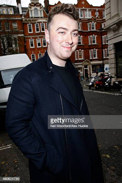 Sam Smith seen leaving the BBC Radio 2 Studios on December 18 2014 in London England Photo by Neil Mockford/Alex Huckle/GC Images