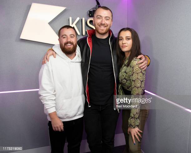 Sam Smith visits Tom Daisy at KISS Breakfast at Bauer Radio Studios on September 09 2019 in London England