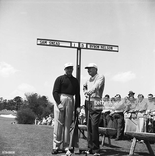 Sam Snead and Byron Nelson stand together during the 1955 Masters Tournament at Augusta National Golf Club in April in Augusta Georgia