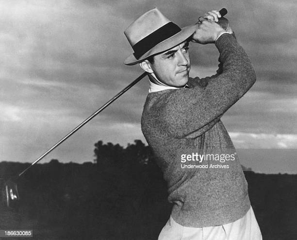 Sam Snead at the end of a golf swing mid to late 1940s