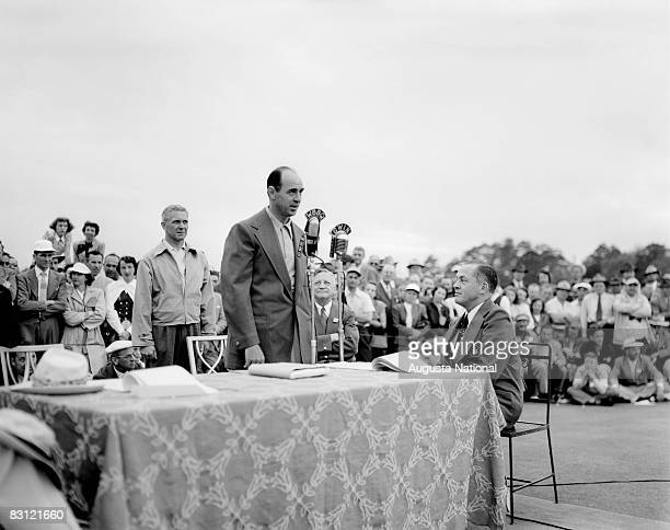 Sam Snead describes the winning round at the awards ceremony during the 1949 Masters Tournament at Augusta National Golf Club on April 10th, 1949 in...