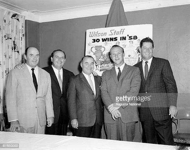 Sam Snead Gene Sarazen Claude Harmon Arnold Palmer and Cary Middlecoff at a Wilson Sporting Goods Banquet during the 1958 Masters Tournament at...