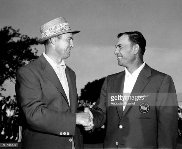 Sam Snead gets a handshake from Ben Hogan after winning the Masters during the 1954 Masters Tournament at Augusta National Golf Club on April 812...