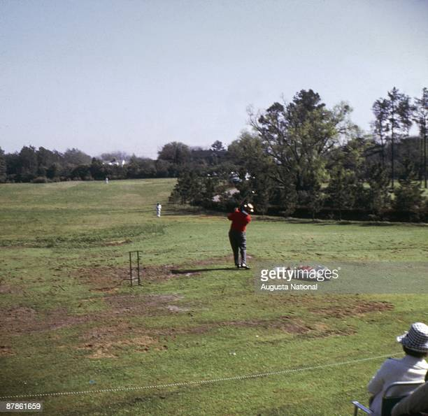 Sam Snead hits a shot during the Masters Tournament at Augusta National Golf Club in April 1964 in Augusta Georgia