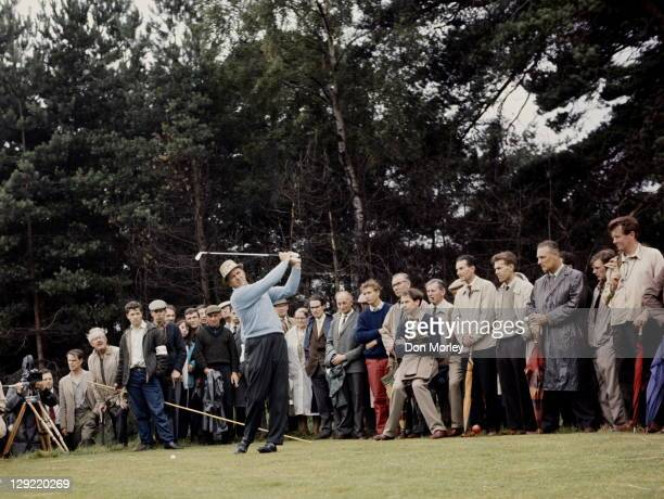 Sam Snead of the United States practises his swing on 1st September 1962 at The Walton Heath Golf Club in Walton on the Hill United Kingdom