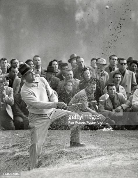 Sam Snead playing out of a bunker to score a double-bogey on this hole during his play-off with Ben Hogan for the Los Angeles Open title on 18th...