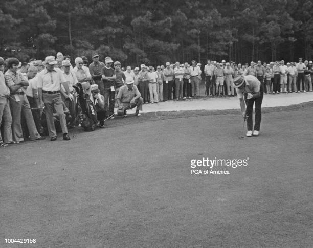 Sam Snead putts at the 1973 World Senior Championship in Norfolk Virginia at the Bide-A-Wee Golf Club.
