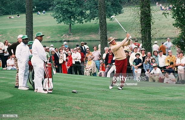 Sam Snead tees off during the 1975 Masters Tournament at Augusta National Golf Club in April 1975 in Augusta Georgia