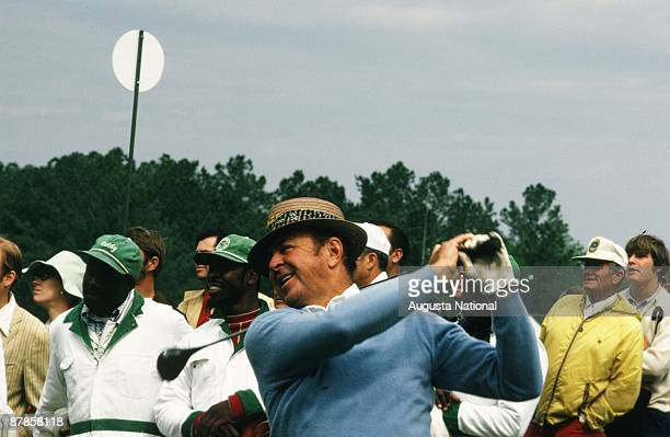 Sam Snead watches his shot with a smile during the 1973 Masters Tournament at Augusta National Golf Club in April 1973 in Augusta Georgia