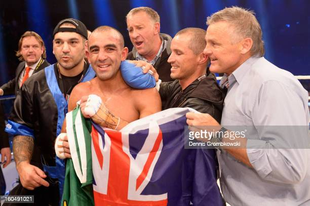 Sam Soliman of Australia celebrates after his IBF Middleweight Eliminator fight against Felix Sturm of Germany at ISS Dome on February 1, 2013 in...