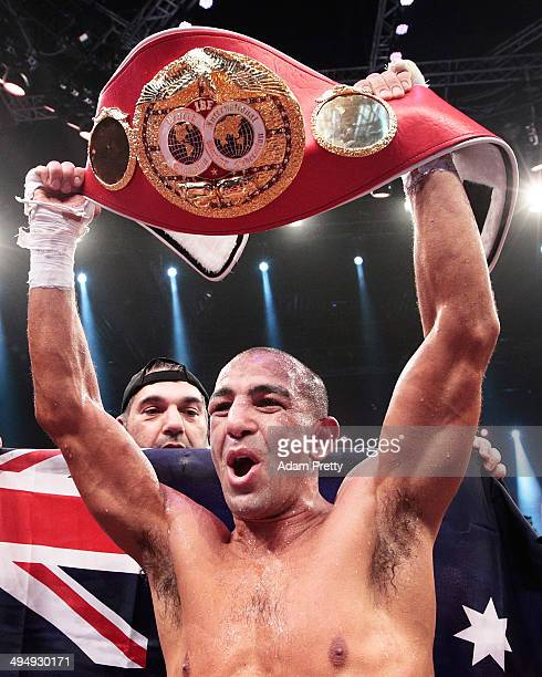 Sam Soliman of Australia celebrates with the IBF World Middleweight Championship Belt after a unamimous points victory over Felix Sturm of Germany...