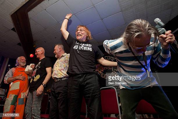 Sam Spoons Dave Glasson Andy Roberts Rodney Slater and Roger Ruskin Spear of Bonzo Dog DooDah Band performs on stage at Brudenell Social Club on...