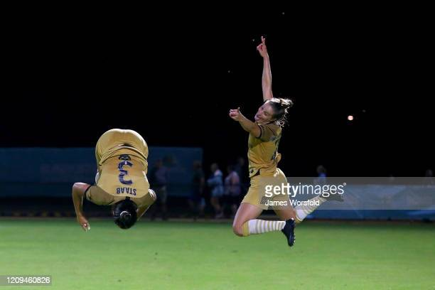 Sam Staab of the Wanderers and Ella Mastrantonio of the Wanderers celebrate their win during the round 14 W-League match between the Perth Glory and...