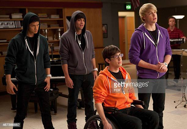 """Sam starts a tribute band with Mike , Puck and Artie in the """"Comeback"""" episode of GLEE airing Tuesday, Feb. 15 on FOX."""