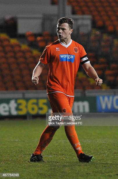 Sam StauntonTurner of Blackpool celebrates his penalty sucess during the FA Youth Cup Third Round fixture between Blackpool and Liverpool at...
