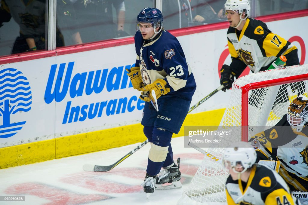 Sam Steel (ANA) #23 of Regina Pats skates behind the net against the Hamilton Bulldogs at Brandt Centre - Evraz Place on May 18, 2018 in Regina, Canada.