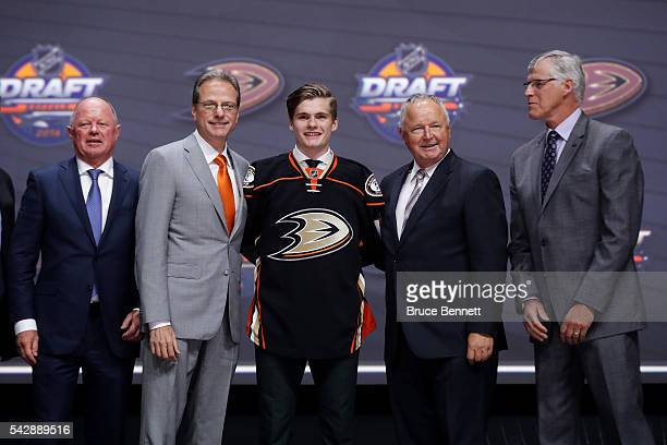 Sam Steel celebrates with the Anaheim Ducks after being selected 30th overall during round one of the 2016 NHL Draft on June 24 2016 in Buffalo New...