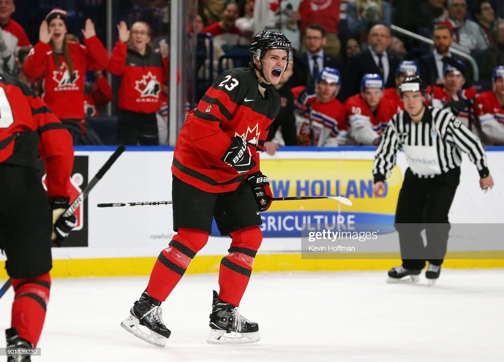 Sam Steel #23 of Canada celebrates after scoring on Czech Republic in the first period during the IIHF World Junior Championship at KeyBank Center on January 4, 2018 in Buffalo, New York.