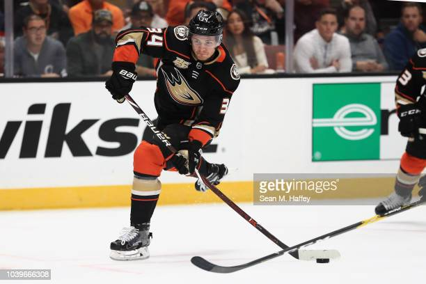 Sam Steel of the Anaheim Ducks shoots the puck during the first period of an NHL preseason game against the Arizona Coyotes at Honda Center on...