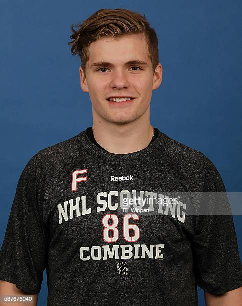Sam Steel poses for a headshot at the 2016 NHL Combine on June 2 2016 at Harborcenter in Buffalo New York