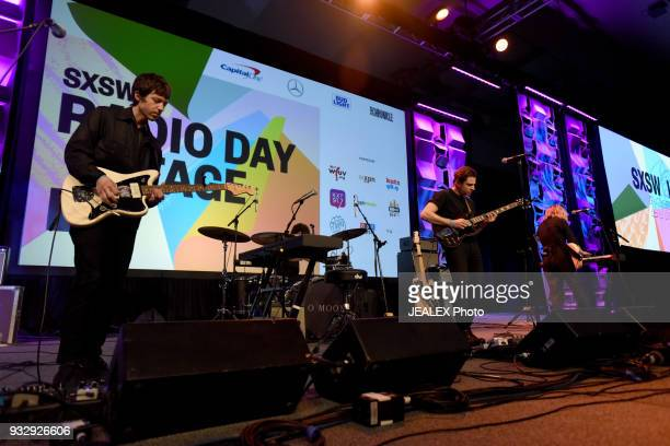 Sam Stewart Matt Lowell and Crisanta Baker of Lo Moon perform at Radio Day Stage during SXSW at Radio Day Stage on March 16 2018 in Austin Texas