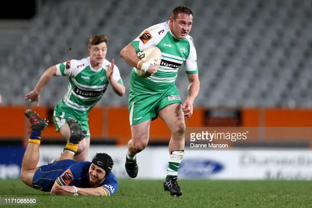 Sam Stewart of Manawatu makes a break during the round 4 Mitre 10 Cup match between Otago and Manawatu at Forsyth Barr Stadium on August 30, 2019 in...