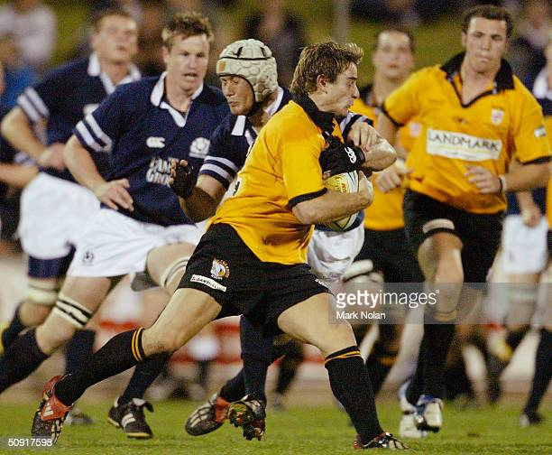 Sam Stewart of NSW Country in action during the touring rugby match between New South Wales Country and Scotland at WIN Stadium June 2 2004 in...