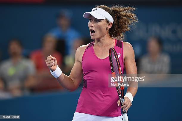 Sam Stosur of Australia celebrates during her match against Jana Cepelova of Solvakia on day two of the 2016 Brisbane International at Pat Rafter...