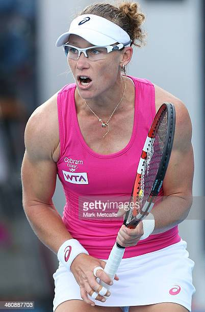 Sam Stosur of Australia celebrates winning a point in her first round match against Madison Brengle of the USA during day two of the Moorilla Hobart...