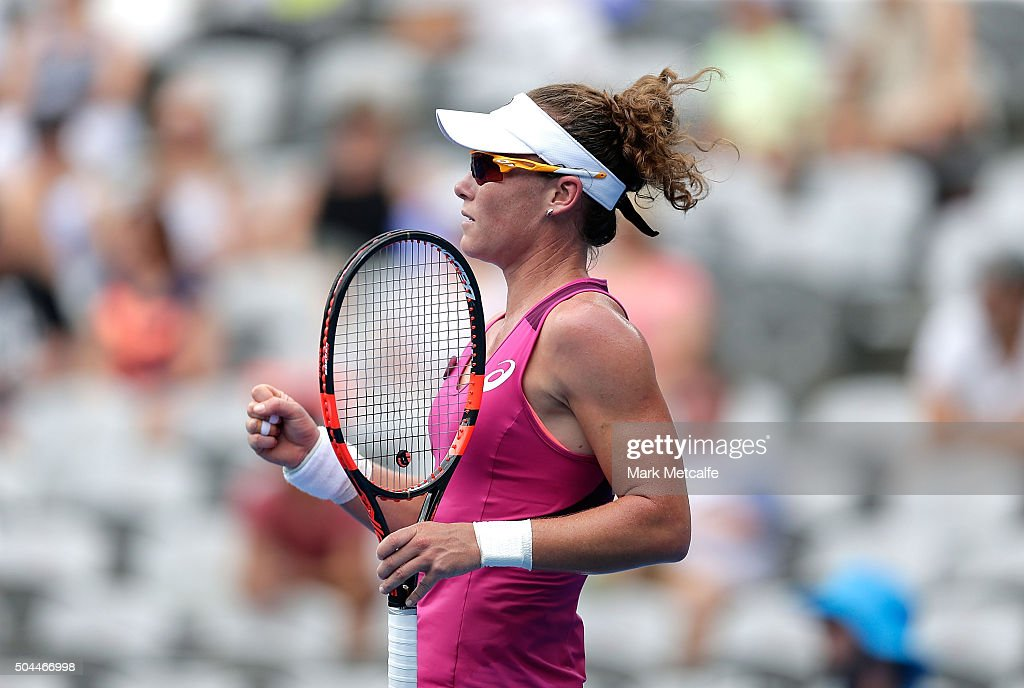 Sam Stosur of Australia celebrates winning a point in her match against Roberta Vinci of Italy during day two of the 2016 Sydney International at Sydney Olympic Park Tennis Centre on January 11, 2016 in Sydney, Australia.