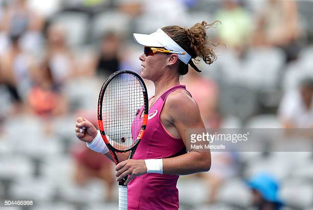 Sam Stosur of Australia celebrates winning a point in her match against Roberta Vinci of Italy during day two of the 2016 Sydney International at...