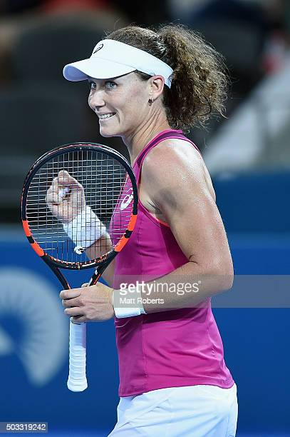 Sam Stosur of Australia celebrates winning her match against Jana Cepelova of Solvakia during day two of the 2016 Brisbane International at Pat...
