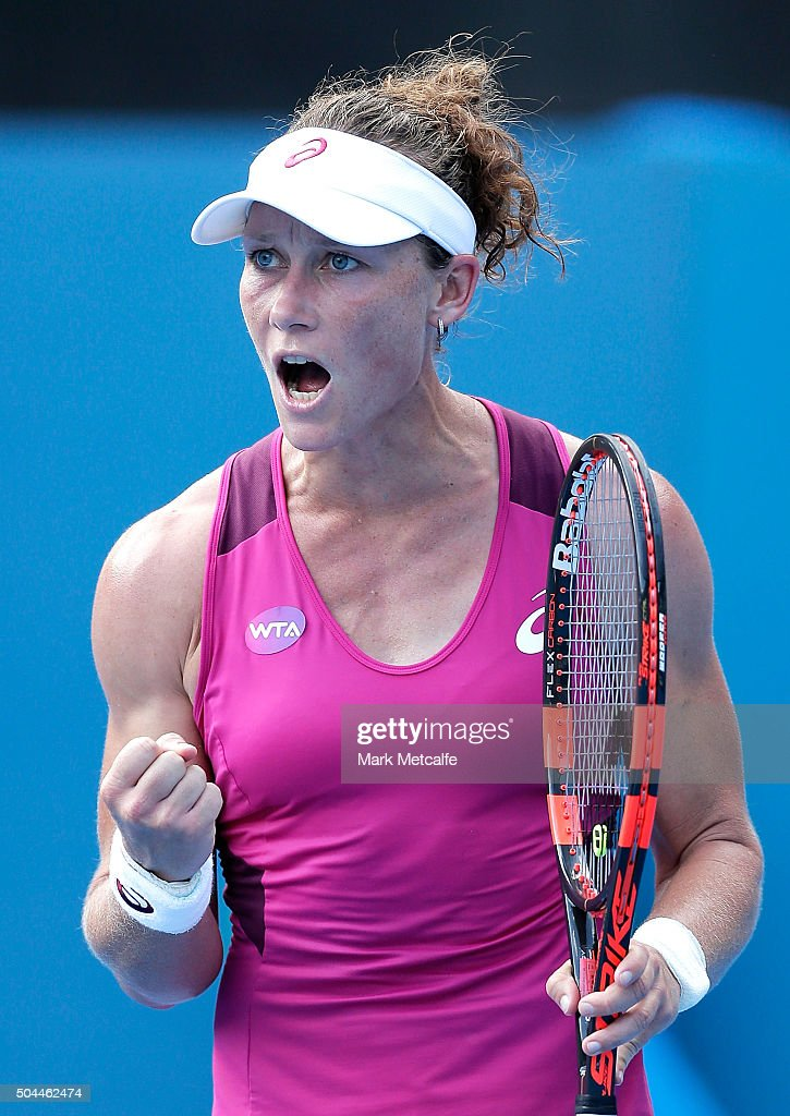 Sam Stosur of Australia celebrates winning set point in her match against Roberta Vinci of Italy during day two of the 2016 Sydney International at Sydney Olympic Park Tennis Centre on January 11, 2016 in Sydney, Australia.