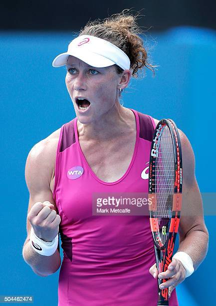 Sam Stosur of Australia celebrates winning set point in her match against Roberta Vinci of Italy during day two of the 2016 Sydney International at...