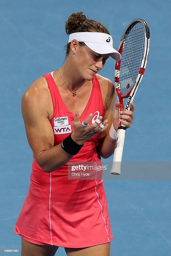 Sam Stosur of Australia looks dejected after losing a point in her match against Sofia Arvidsson of Sweden during day two of the Brisbane International at Pat Rafter Arena on December 31, 2012 in Brisbane, Australia.