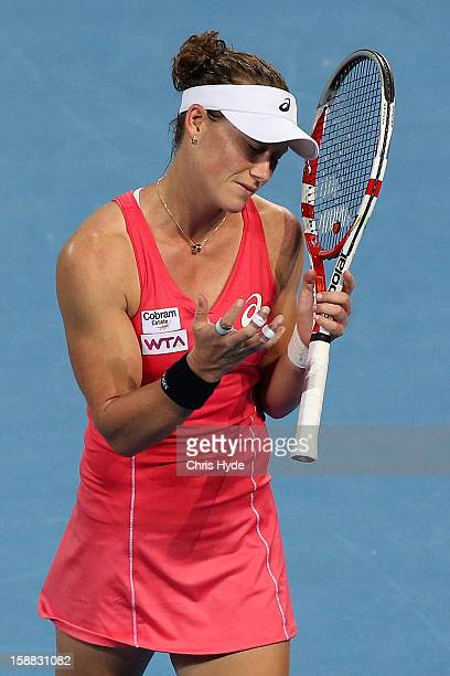 Sam Stosur of Australia looks dejected after losing a point in her match against Sofia Arvidsson of Sweden during day two of the Brisbane...