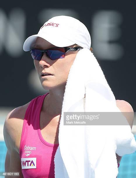Sam Stosur of Australia looks on in her semi final match against Klara Zakopalova of the Czech Republic during day six of the Moorilla Hobart...