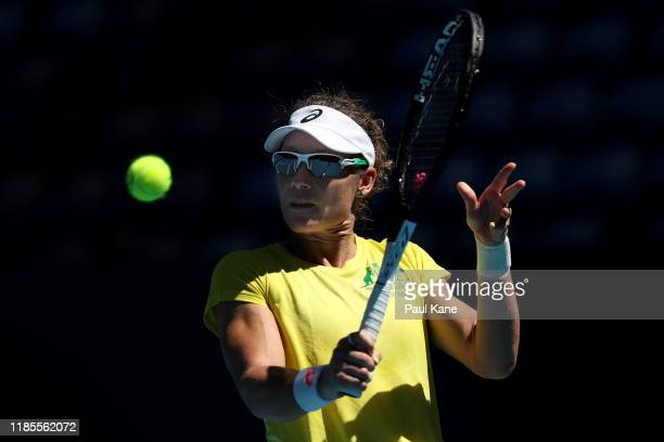 Sam Stosur of Australia plays a backhand during a practice session ahead of the 2019 Fed Cup Final between Australia and France at RAC Arena on...