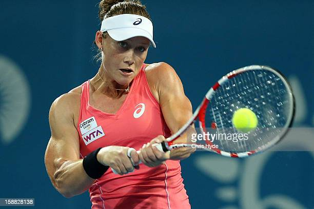 Sam Stosur of Australia plays a backhand in her match against Sofia Arvidsson of Sweden during day two of the Brisbane International at Pat Rafter...