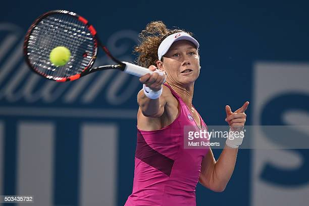 Sam Stosur of Australia plays a forehand against Carla Suarez Navarro of Spain during day three of the 2016 Brisbane International at Pat Rafter...