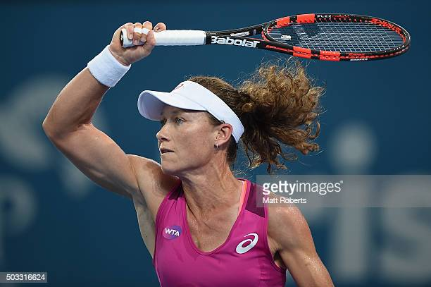 Sam Stosur of Australia plays a forehand against Jana Cepelova of Solvakia during day two of the 2016 Brisbane International at Pat Rafter Arena on...